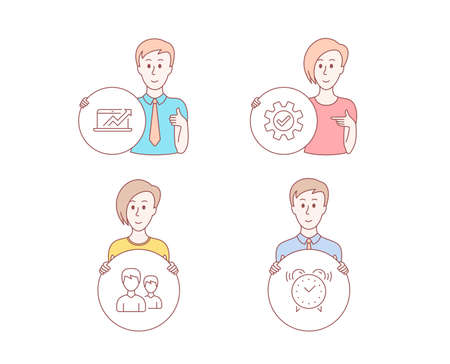 People hand drawn style. Set of Sales diagram, Service and Couple icons. Alarm clock sign. Sale growth chart, Cogwheel gear, Two male users. Time.  Character hold circle button. Man with like hand Banque d'images - 116297904