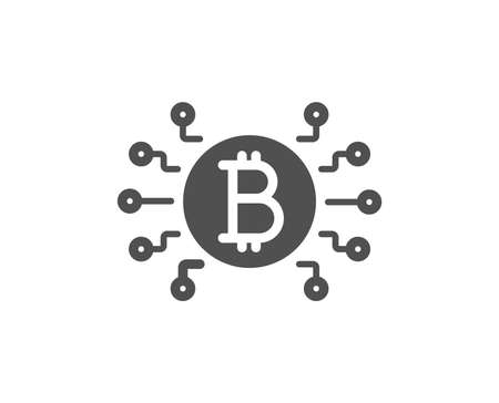 Bitcoin system icon. Cryptocurrency scheme sign. Crypto money symbol. Quality design element. Classic style icon. Vector Ilustracja