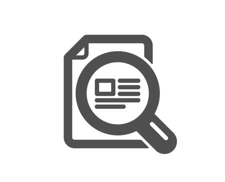 Check article icon. �¡opyright sign. Magnifying glass symbol. Quality design element. Classic style icon. Vector