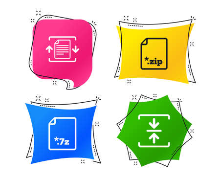 Archive file icons. Compressed zipped document signs. Data compression symbols. Geometric colorful tags. Banners with flat icons. Trendy design. Vector