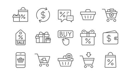 Shopping line icons. Gift, Percent sign and Sale discount. Delivery linear icon set.  Vector Illustration