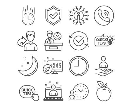 Set of Education idea, Best manager and Time icons. Approved, Presentation time and Recruitment signs. Fast delivery, Quick tips symbols. Quick tips, Best developer, Office clock. Vector