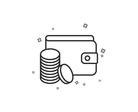 Wallet with Coins line icon. Cash money sign. Payment method symbol. Geometric shapes. Random cross elements. Linear Payment method icon design. Vector