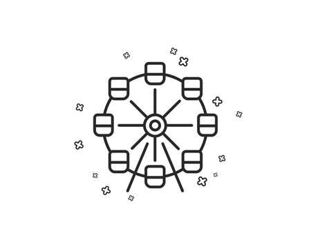 Ferris wheel line icon. Amusement park sign. Carousels symbol. Geometric shapes. Random cross elements. Linear Ferris wheel icon design. Vector Illustration