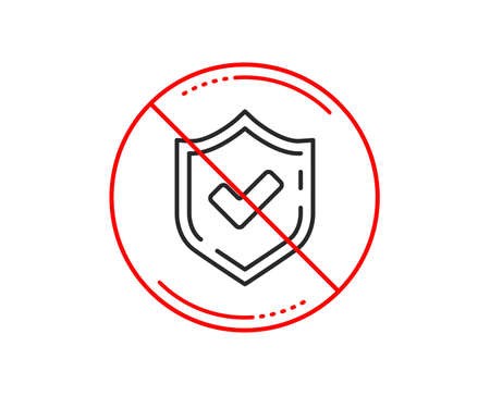 No or stop sign. Check mark line icon. Accepted or Approve sign. Tick shield symbol. Caution prohibited ban stop symbol. No  icon design.  Vector Illustration