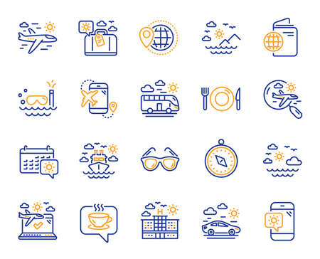 Travel line icons. Passport, Luggage, Check in airport icons. Airplane flight, Sunglasses, Hotel building. Passport check in document, Sea diving. Restaurant hotel food, luggage travel. Vector