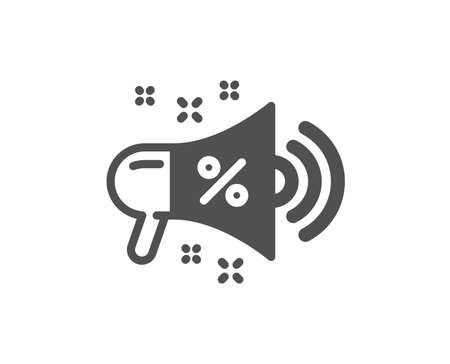 Sale megaphone icon. Discount shopping sign. Clearance symbol. Quality design element. Classic style icon. Vector 写真素材 - 116297955