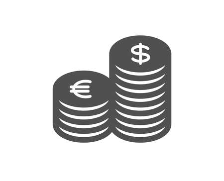 Coins money icon. Banking currency sign. Euro and Dollar Cash symbols. Quality design element. Classic style icon. Vector Foto de archivo - 125604066