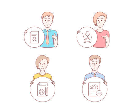 People hand drawn style. Set of Shopping, Documentation and Delete file icons. Checked calculation sign. Add to cart, Project, Remove document. Statistical data.  Character hold circle button. Vector