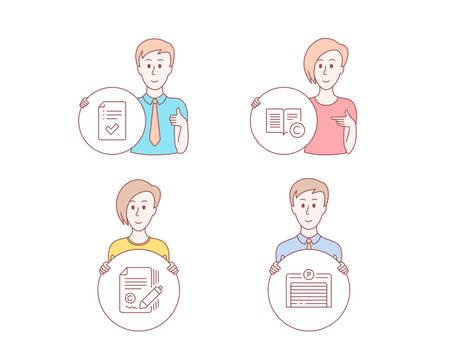 People hand drawn style. Set of Approved checklist, Copywriting and Copyright icons. Parking garage sign. Accepted message, Ð¡opyright signature, Copywriting book. Automatic door. Vector Ilustração