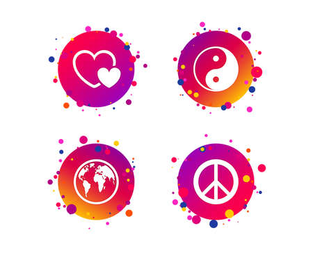 World globe icon. Ying yang sign. Hearts love sign. Peace hope. Harmony and balance symbol. Gradient circle buttons with icons. Random dots design. Vector Illustration
