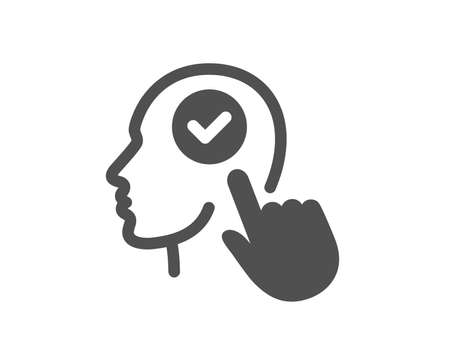 Head icon. Select user sign. Checkbox symbol. Quality design element. Classic style icon. Vector  イラスト・ベクター素材