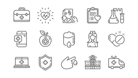 Medical line icons. Hospital assistance, Health food diet and Laboratory. Chemistry linear icon set. Vector Vektorové ilustrace