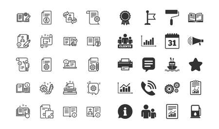 Technical Documentation line icons. Set of Instruction, Plan and Manual linear icons. Help documents, Building plan and Algorithm symbols. Technical blueprint, Engineering and Work tool signs. Vector