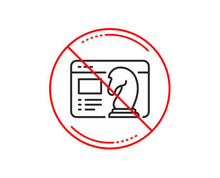 No or stop sign. Seo strategy line icon. Search engine optimization sign. Analytics chess symbol. Caution prohibited ban stop symbol. No  icon design.  Vector Illustration