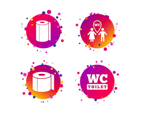Toilet paper icons. Gents and ladies room signs. Paper towel or kitchen roll. Man and woman symbols. Gradient circle buttons with icons. Random dots design. Vector