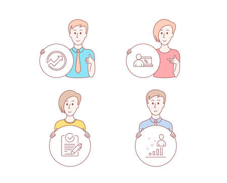 People hand drawn style. Set of Online education, Rfp and Audit icons. Stats sign. Internet lectures, Request for proposal, Arrow graph. Business analysis.  Character hold circle button. Vector