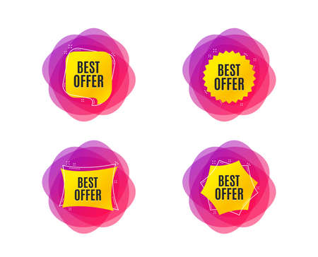 Best offer. Special price Sale sign. Advertising Discounts symbol. Geometric gradient sales shapes. Creative banners. Template for design. Vector Stock Illustratie