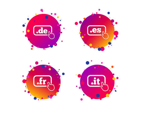 Top-level internet domain icons. De, It, Es and Fr symbols with hand pointer. Unique national DNS names. Gradient circle buttons with icons. Random dots design. Vector