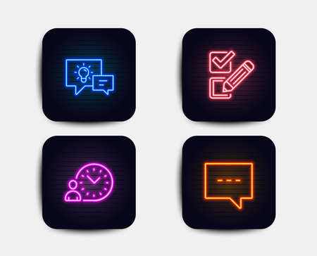 Neon glow lights. Set of Checkbox, Time management and Idea lamp icons. Blog sign. Survey choice, Work time, Business energy. Chat message.  Neon icons. Glowing light banners. Vector