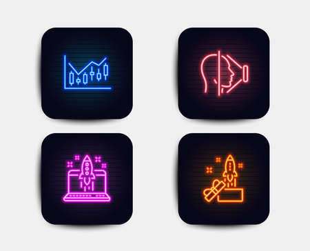 Neon glow lights. Set of Start business, Face id and Financial diagram icons. Innovation sign. Launch idea, Phone scanning, Candlestick chart. Crowdfunding.  Neon icons. Glowing light banners. Vector Banque d'images - 116298631