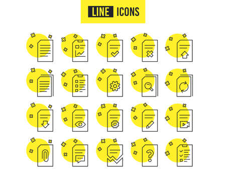 Document Management line icons. Set of Report, Checklist and Copy signs. Download file, Remove and Attach clip symbols. Search, Edit and Corrupt file. Quality futuro design icons. Editable stroke