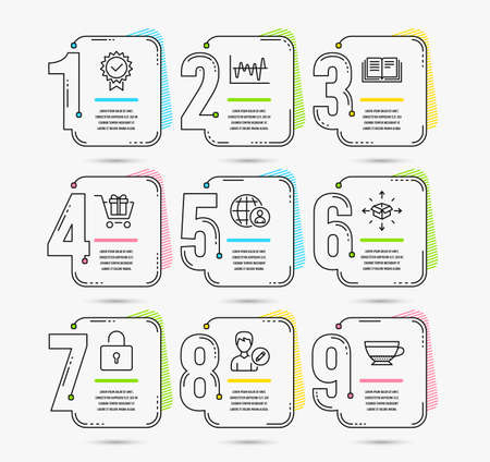Infographic timeline set of Stock analysis, Parcel delivery and Education icons. Certificate, International recruitment and Lock signs. Vector Stok Fotoğraf - 125609515