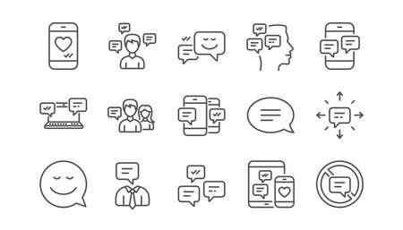 Iconos de mensaje y comunicación. Chat grupal, bocadillo y sms. Póngase en contacto con el conjunto de iconos lineales. Vector Ilustración de vector
