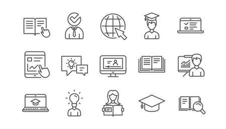 Education line icons. Book, Video tutorial and Instructions. Presentation linear icon set.  Vector