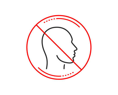 No or stop sign. Head line icon. Human profile sign. Facial identification symbol. Caution prohibited ban stop symbol. No  icon design.  Vector
