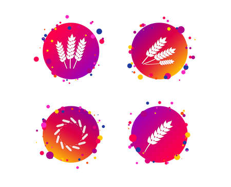 Agricultural icons. Gluten free or No gluten signs. Wreath of Wheat corn symbol. Gradient circle buttons with icons. Random dots design. Vector Vettoriali