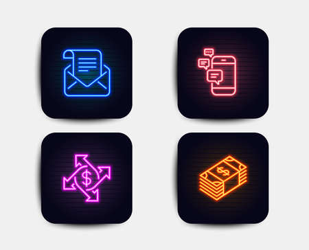 Neon set of Payment exchange, Communication and Mail newsletter icons. Usd currency sign. Money transfer, Smartphone messages, Open e-mail. Buying commerce. Neon icons. Vector