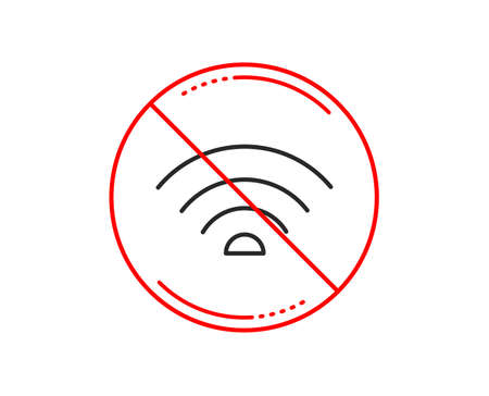 No or stop sign. Wifi line icon. Wifi internet sign. Wireless network symbol. Caution prohibited ban stop symbol. No  icon design.  Vector Illustration