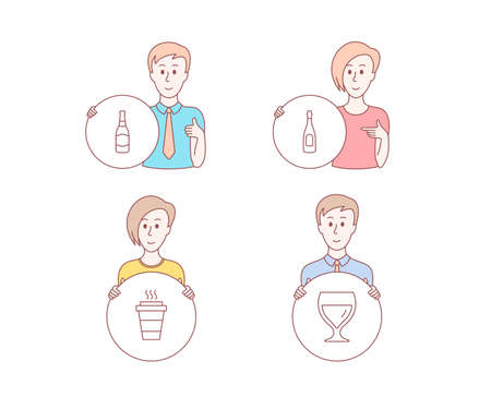 People set of Champagne, Beer bottle and Takeaway icons. Wine glass sign. Celebration drink, Brewery, Takeout coffee. Cabernet wineglass. Character hold circle button. Vector Illustration
