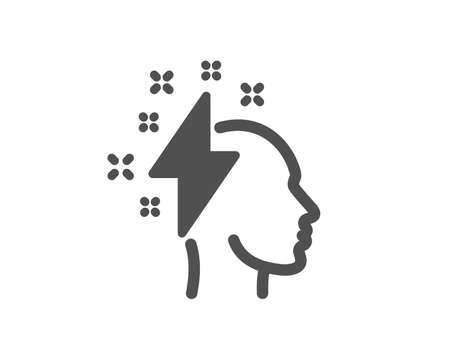 Creative brainstorming icon. Human head with lightning bolt sign. Inspiration symbol. Quality design element. Classic style icon. Vector Archivio Fotografico - 125609537