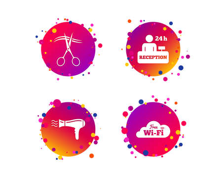 Hotel services icons. Wifi, Hairdryer in room signs. Wireless Network. Hairdresser or barbershop symbol. Reception registration table. Gradient circle buttons with icons. Random dots design. Vector Ilustração