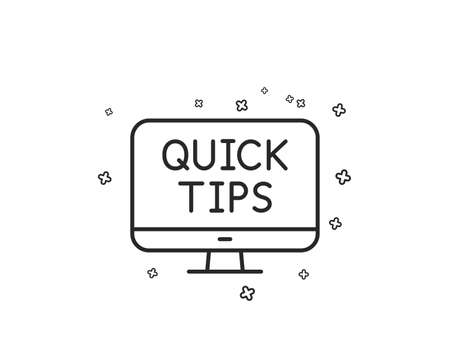 Quick tips line icon. Helpful tricks sign. Web tutorials symbol. Geometric shapes. Random cross elements. Linear Web tutorials icon design. Vector Banque d'images - 125609540