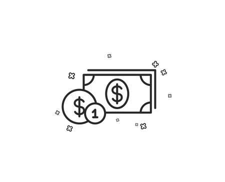 Cash money with Coins line icon. Banking currency sign. Dollar or USD symbol. Geometric shapes. Random cross elements. Linear Dollar money icon design. Vector