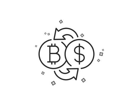 Bitcoin exchange line icon. Cryptocurrency coin sign. Dollar money symbol. Geometric shapes. Random cross elements. Linear Bitcoin exchange icon design. Vector