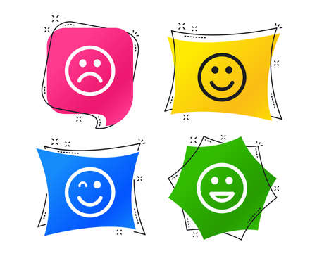 Smile icons. Happy, sad and wink faces symbol. Laughing lol smiley signs. Geometric colorful tags. Banners with flat icons. Trendy design. Vector Ilustração