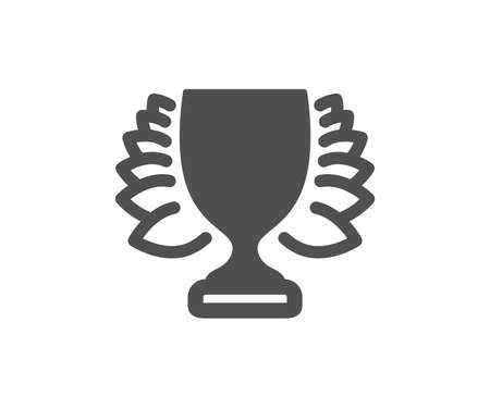 Award cup icon. Winner Trophy with Laurel wreath symbol. Sports achievement sign. Quality design element. Classic style icon. Vector