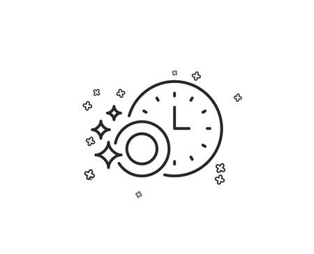 Cleaning dishes with Time line icon. Dishwasher sign. Clean tableware sign. Geometric shapes. Random cross elements. Linear Dishwasher timer icon design. Vector Stock Illustratie
