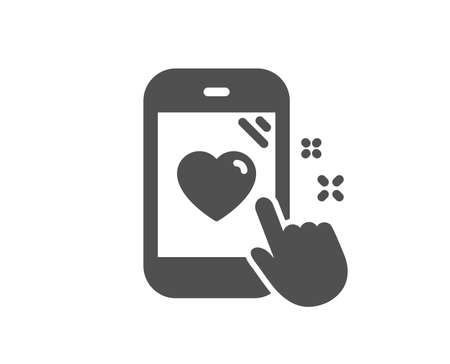 Heart rating icon. Feedback phone sign. Customer satisfaction symbol. Quality design element. Classic style icon. Vector