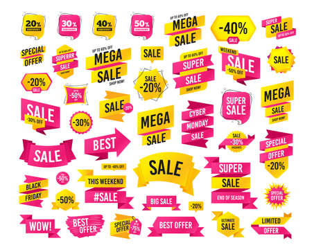 Sale banner. Super mega discounts. Sale discount icons. Special offer price signs. 20, 30, 40 and 50 percent off reduction symbols. Black friday. Cyber monday. Vector Illustration