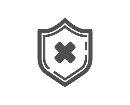 Reject protection icon. Decline shield sign. No security. Quality design element. Classic style icon. Vector