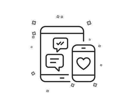 Social media messages line icon. Mobile devices sign. Smartphone Love message symbol. Geometric shapes. Random cross elements. Linear Social media icon design. Vector Illustration