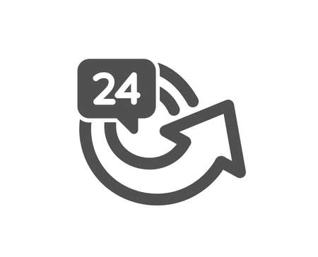 24 hours service icon. Repeat every day sign. Refund symbol. Quality design element. Classic style icon. Vector