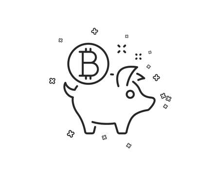 Bitcoin line icon. Cryptocurrency coin sign. Piggy bank money symbol. Geometric shapes. Random cross elements. Linear Bitcoin coin icon design. Vector