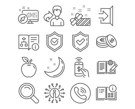 Set of Phone payment, Present and Instruction info icons. Approved shield, Engineering documentation and Exit signs. Search, Savings and Technical algorithm symbols. Mobile pay, Gift, Project. Vector