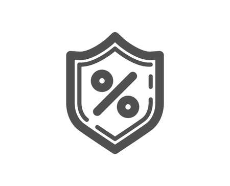 Loan percent icon. Protection shield sign. Credit percentage symbol. Quality design element. Classic style icon. Vector